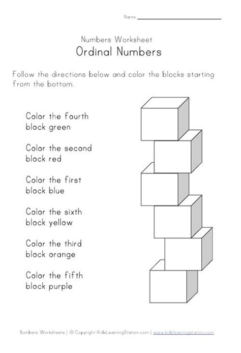 ordinal numbers worksheet for kids education numeracy