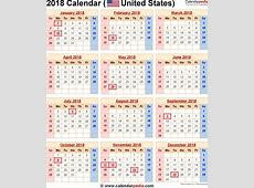 2018 Calendar With Federal Holidays Printable Free