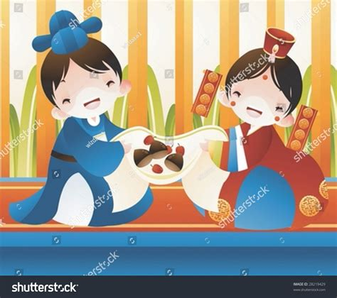 happy cute young married couple korean stock vector