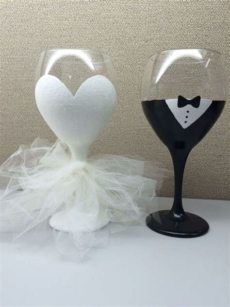 20oz glittery bride hand painted wine glass with tulle