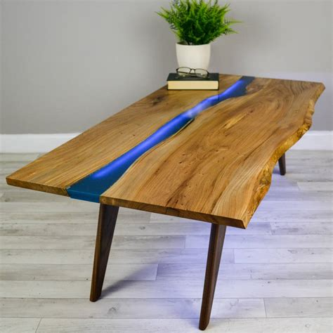 table cuisine bois brut river resin elm coffee table on walnut base by frances