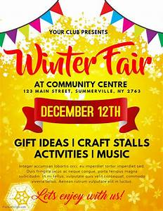 Craft Fair Flyer Printable Winter Fair Family And Kids Event Flyer