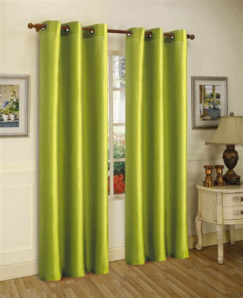 Lime Green Curtains by 2pcs Mira Lime Green Solid Grommet Faux Silk Window