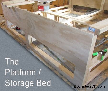 platform bed  storage plans  woodworking