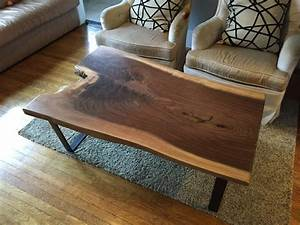 Black walnut slab coffee table ambrose woodworks for Oak slab coffee table