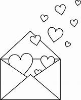 Valentine Clipart Heart Clip Envelope Coloring Letter Outline Colorable Note Hearts Valentines Printable Sheets Colouring Cliparts Lineart Sweetclipart Drawing Line sketch template