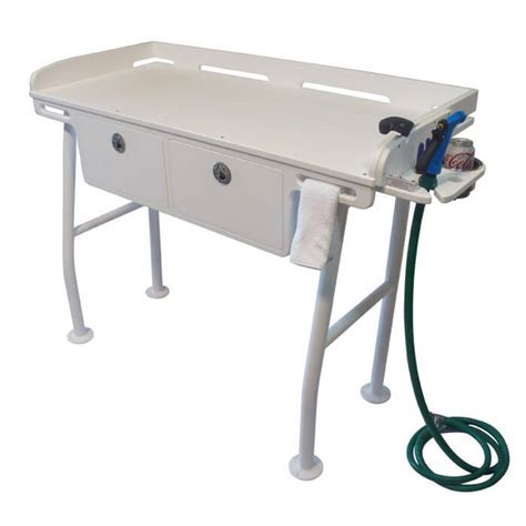 fish cleaning station with sink for dock dock fillet table with drawers boat outfitters