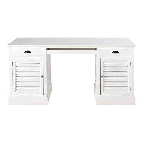 bureau bois et blanc bureau en bois blanc l 150 cm barbade maisons du monde