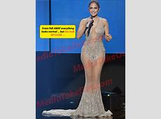 Jennifer Lopez wore no panties in a seethrough dress in