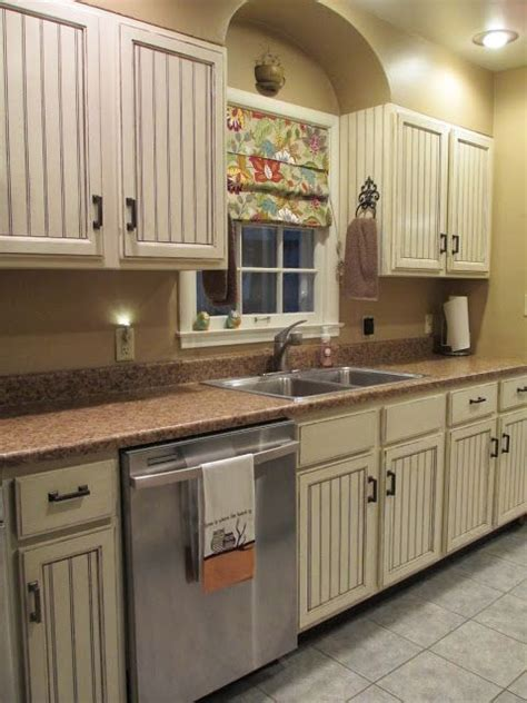 DIY Beadboard Kitchen Cabinets, glazed cabinets   home