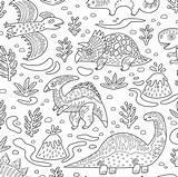 Coloring Fabric Dino Friends Print Spoonflower Template Penguinhouse sketch template