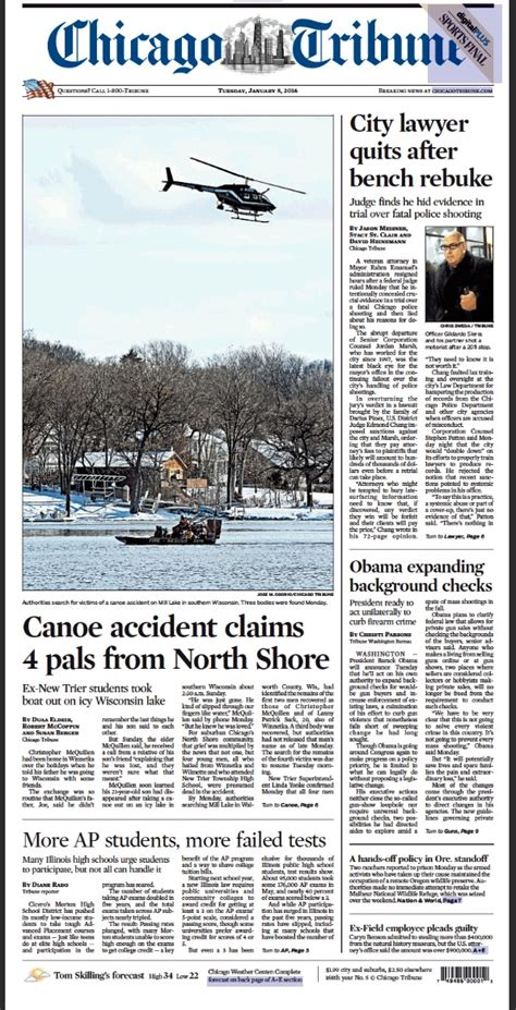 chicago tribune stories that ran on page one journalism