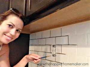 removing kitchen tile backsplash changing grout color a subway tile update the happier
