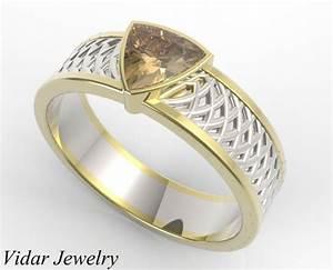 trillion cut chocolate diamond wedding ring for a men With mens chocolate diamond wedding rings