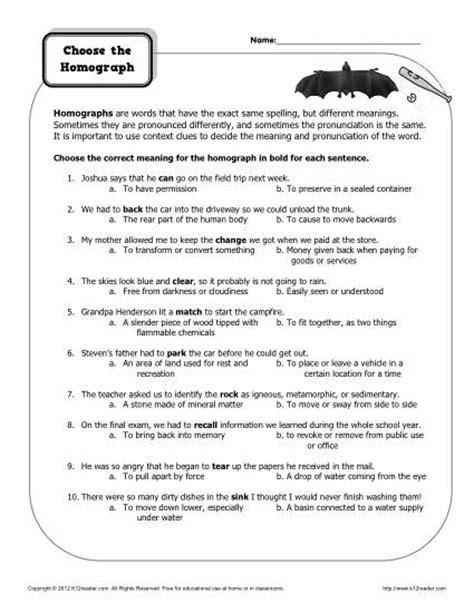 worksheet choose the homograph