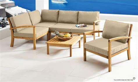 canap angle moderne salon de jardin en bois massif 5 places confort haut de