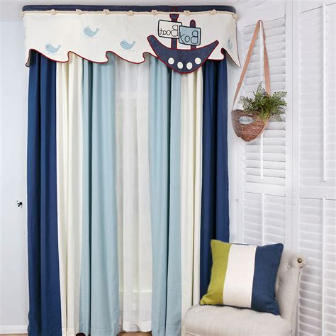 blue and white striped custom window treatments without