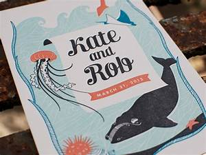 kate rob39s sea creature letterpress wedding invitations With letterpress wedding invitations nz