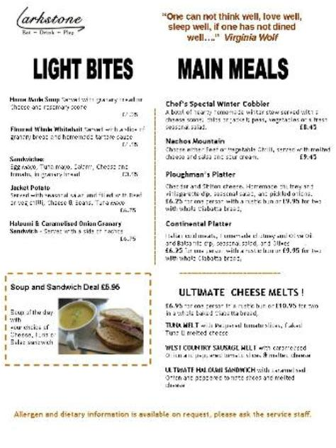 Light Bites by Menu Light Bites And Meals Picture Of Larkstone Family