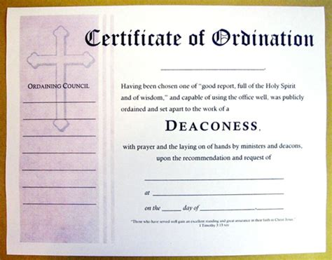 ordination certificate template certificate of ordination for deaconess