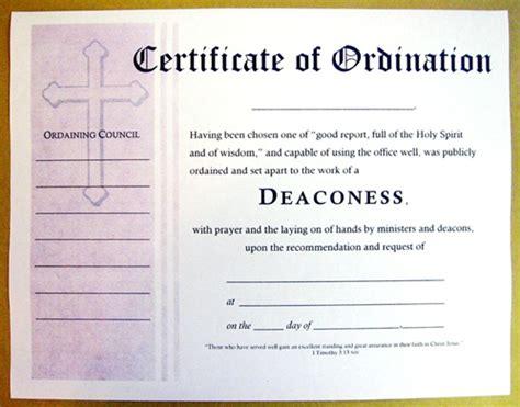 certificate  ordination  deaconess