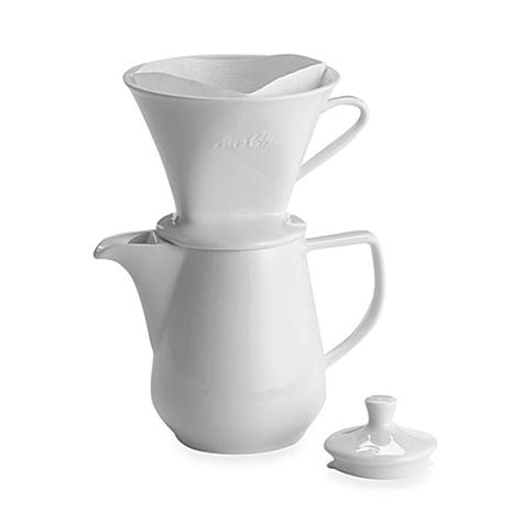Simply place the single cup coffee cone over your mug, add a cone filter and your ground coffee and then pour hot water over the coffee. Melitta® Pour Over 6-Cup Porcelain Coffee Maker - Bed Bath & Beyond