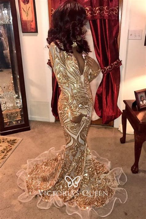 sparkly gold sequin long sleeve flounced mermaid african