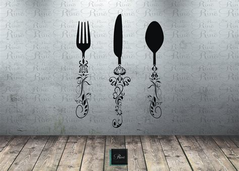 utensil decals 5ft kitchen wall decal knife spoon fork wall decal dining room large wall