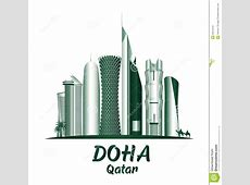 City Of Doha Qatar Famous Buildings Stock Vector Image