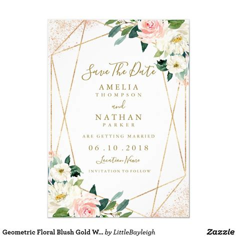 Geometric Floral Blush Gold Wedding Save The Date