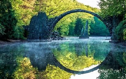 Nature Landscape Bridge River Reflection Water Trees