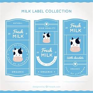Flat Set Of Milk Labels With Decorative Cow Vector