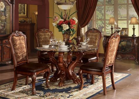"Dresden Carved Wood 5pc 54"" Round Glass Top Dining Table"