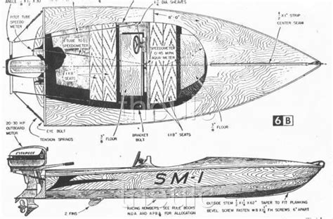 Mini Boat Drawing by Mini Hydroplane Plans Db