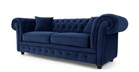 canapé velour branagh 2 seater chesterfield sofa electric blue velvet