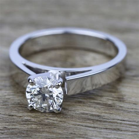flat cathedral solitaire engagement ring in white gold 3mm