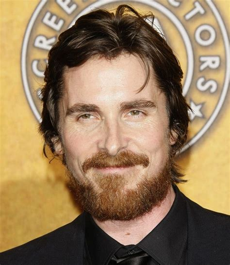 Men Parted Medium Long Hairstyles Christian Bale Red