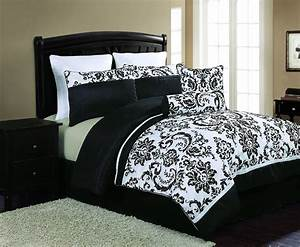 Magnificent, Black, And, White, Bedding, Bedroom, Combination