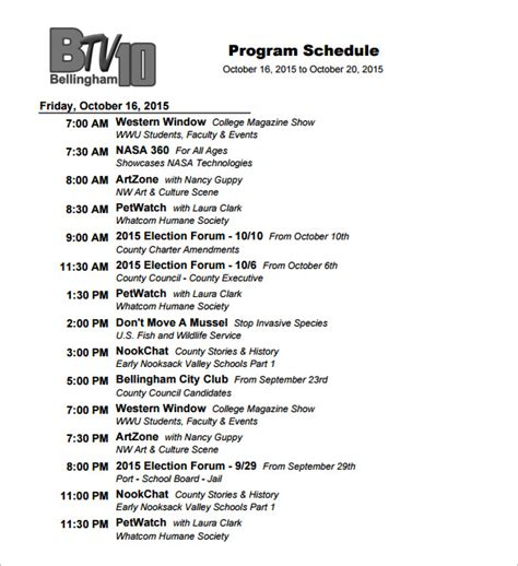 Tv Show Business Plans Templates by Program Schedule Templates 12 Free Word Excel Pdf
