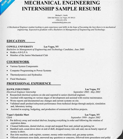 resume for internship for mechanical enginering 10 internship resume templates free pdf word psd