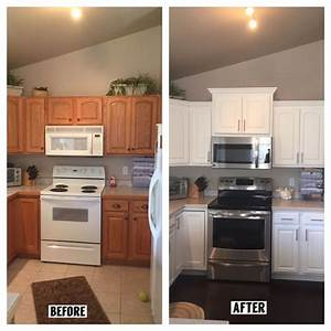 cabinet crown molding before and after wwwpixsharkcom With best brand of paint for kitchen cabinets with rock crystal candle holders