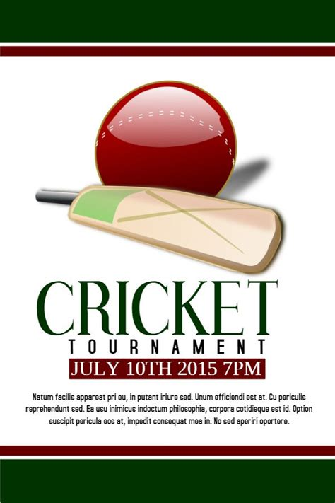 printable cricket tournament posterflyer design click