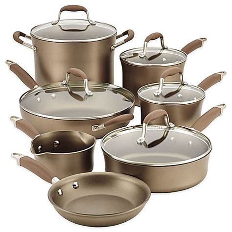 cookware anolon anodized piece nonstick hard advanced umber pans pots sets tomato bedbathandbeyond beyond bath bed pan skillet grilled bacon