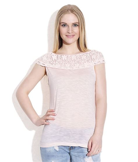 Buy Boat Neck Tops by Only Boat Neck Peachpuff Top Buy Only Boat Neck