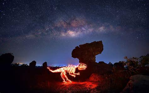Wallpaper Trees Landscape Lights Night Galaxy Rock