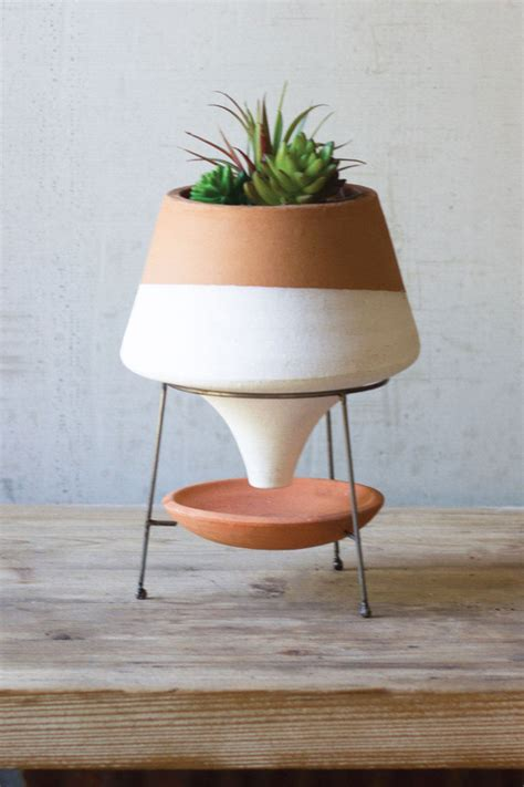 small white dipped terracotta funnel planter  wire base