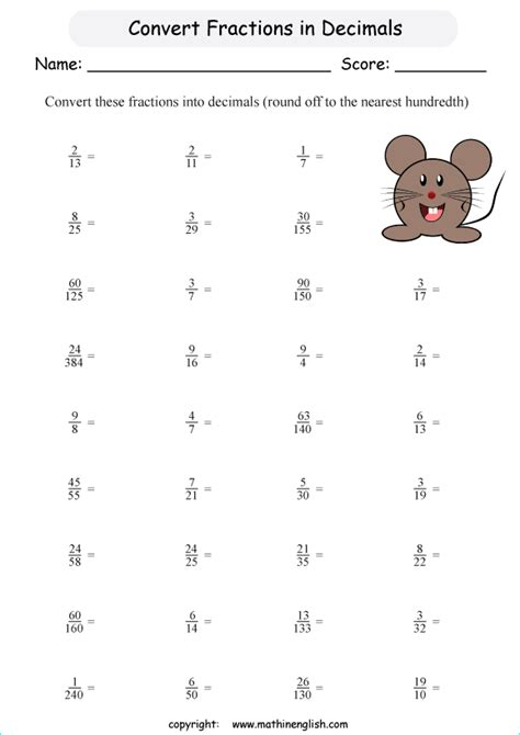 converting fractions to decimals worksheets year 6 convert fractions into decimals round off to the nearest