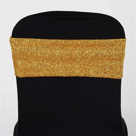 my dreamy spandex chair sash metallic gold efavormart