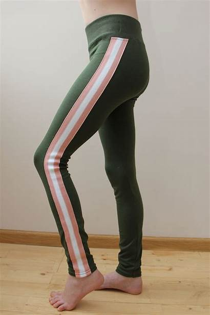 Leggings Olive Side Pants Striped Workout Tights