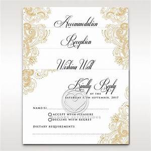 glamorous border on white card vintage inspired rsvp With wedding invitations without rsvp cards
